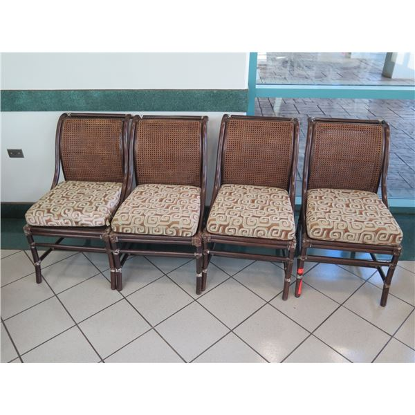 """Set of 4 McGuire Rattan Chairs w/Woven Cane Rattan Backrest, 21""""x19"""" (34"""" Back Height)"""
