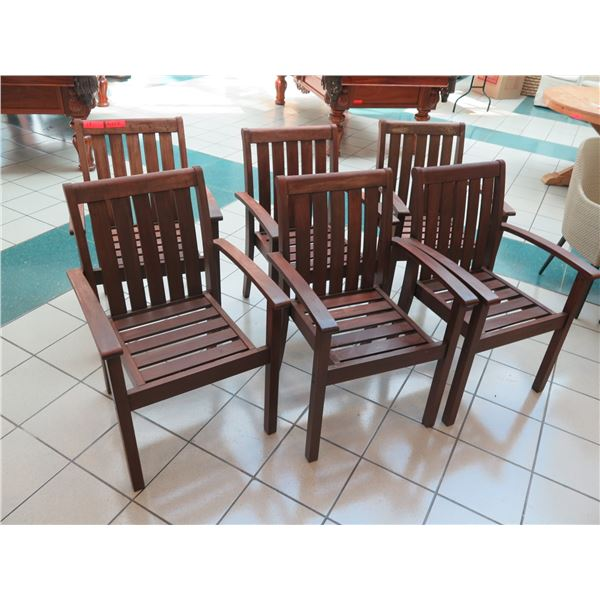"""Set of 6 Pottery Barn Slatted Wooden Chairs 24"""" x 18"""" (36"""" Back Height)"""