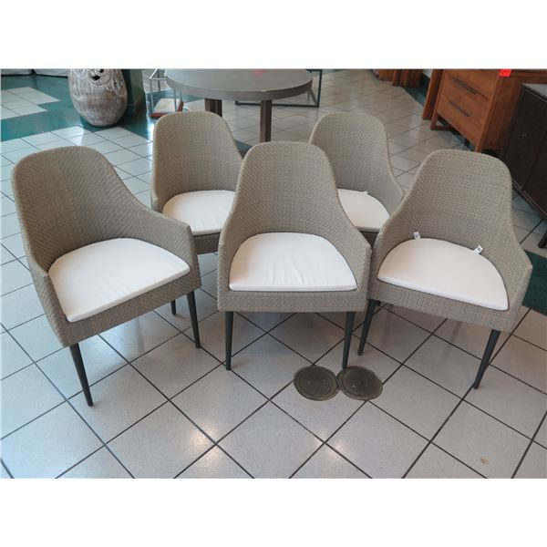 """Set of 5 Modern Janus et Cie Woven Dining Chairs w/ Snap-In Cushions, 24"""" x 20"""" (34"""" Back Ht)"""