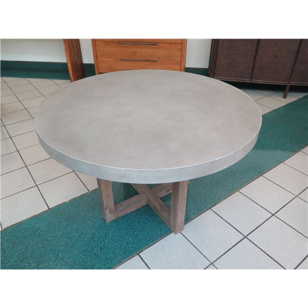 """Restoration Hardware Table, Stone-Look Composite Top w/ Wooden Base, 48"""" Dia, 30""""H (edges show wear)"""