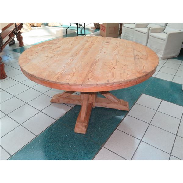"""Large Round Solid Wood Table w/ Geometric Base, Natural Finish, 61"""" Dia, 30""""H (some nicks along edge"""