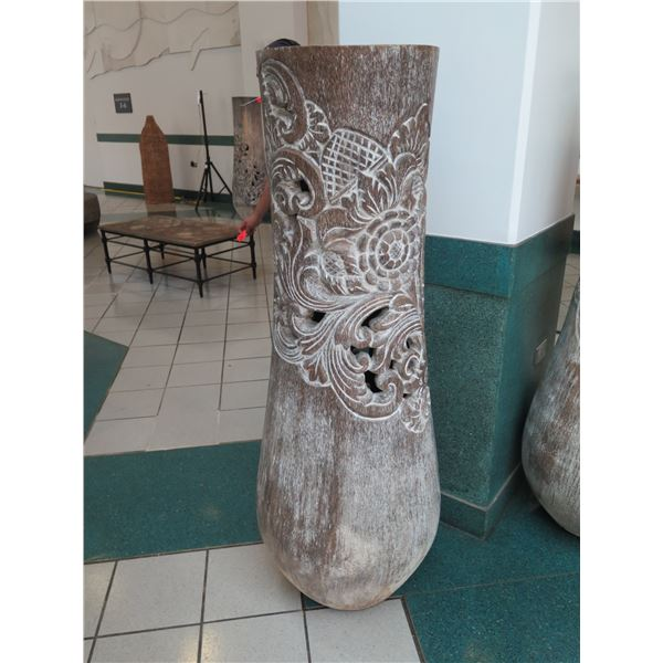 """Tall Whitewashed Wooden Vessel w/ Carved Scroll Details 16"""" Dia, 61"""" Tall"""