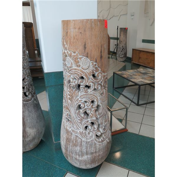 """Tall Whitewashed Wooden Vessel w/ Carved Scroll Details 14"""" Dia, 60"""" Tall"""