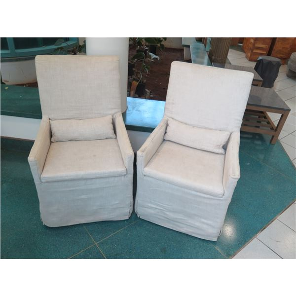 """Qty 2 Restoration Hardware Rolling Slipcovered Chairs 24"""" x 19"""" (40"""" Back Height), Flax Color, Shows"""