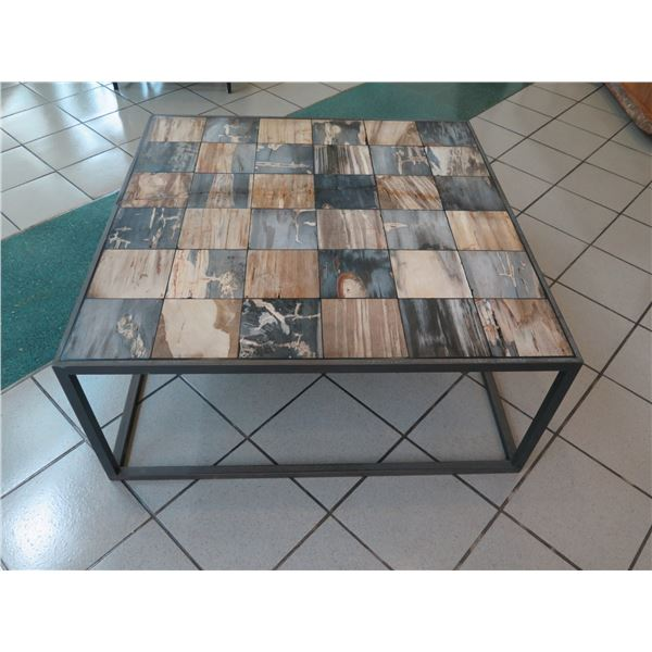 """Coffee Table w/ Contrasting Squares, Metal Frame (crack line towards middle) 42""""x42""""x18""""H"""