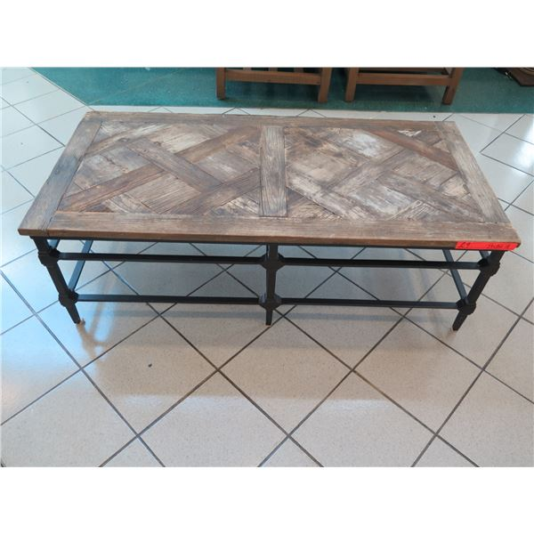 """Rustic Natural Wood Coffee Table w/Cast Iron Base, Natural Finish 54"""" x 26"""" x 18""""H"""