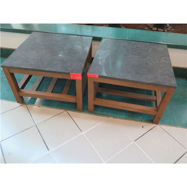 """Pair of Square Side Tables w/ Polished Stone Top, Wooden Base 26"""" x 26"""" x 18""""H"""