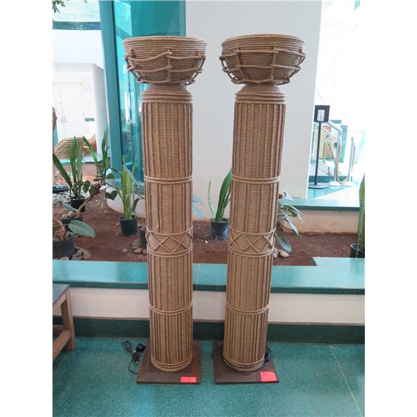 """Pair of Tall Torchiere Floor Lamp Columns, Wrapped w/ Twisted Rope 16"""" Dia, 71"""" Tall"""