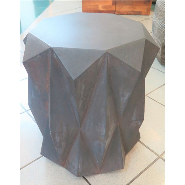 """Small Geometric Side Table (or Stand), Mixed Metal 19"""" Dia, 20""""H"""