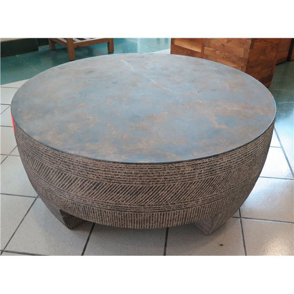 """Round Stone-Like Coffee Table w/ Textured Side, 41"""" Dia, 18""""H"""