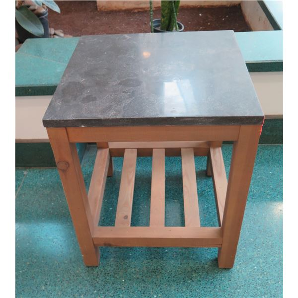 """Square Side Table w/ Polished Stone Top, Wooden Base, 20"""" x 20"""" x 24""""H"""