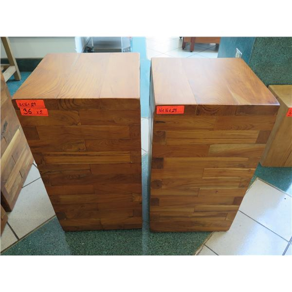 """Qty 2 Solid Wooden Accent Blocks, Each Approx. 16"""" x 16"""" x 29"""""""