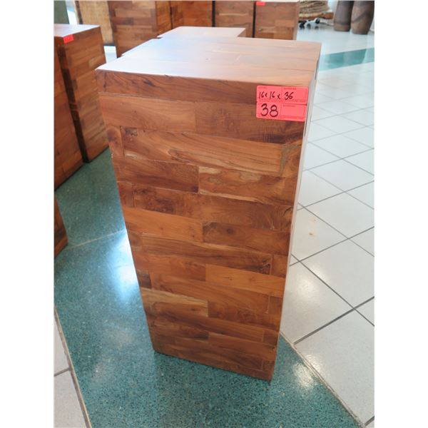 """Qty 1 Solid Wooden Accent Block (or Stand), Approx. 16"""" x 16"""" x 36"""""""