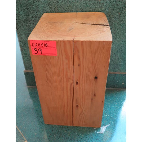 """Qty 1 Solid Single-Piece Wooden Accent Block (or Stand), Approx. 11"""" x 11"""" x 18"""""""