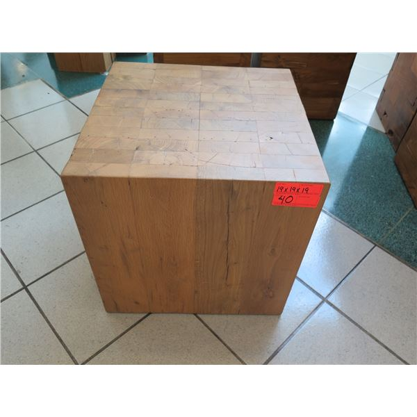 """Qty 1 Solid Wooden Accent Block Stand (or Side Table), Approx. 19"""" x 19"""" x 19"""""""