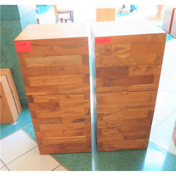 """Qty 2 Solid Wooden Accent Blocks, Each Approx. 16"""" x 16"""" x 36"""""""