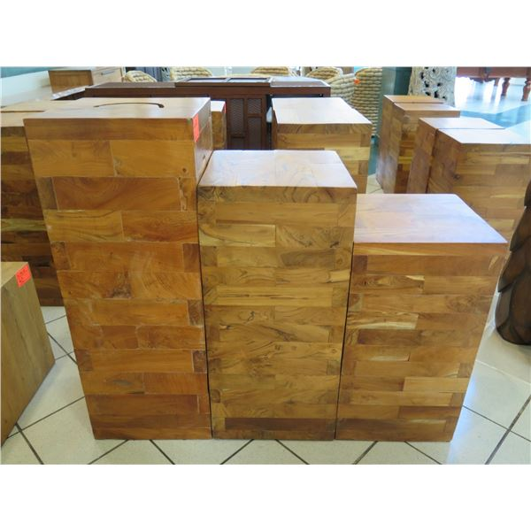 """Qty 3 Solid Wooden Accent Blocks (Display Stands), Varying Heights: 16"""" x 16"""" x 42"""", 16"""" x 16"""" x 36"""""""