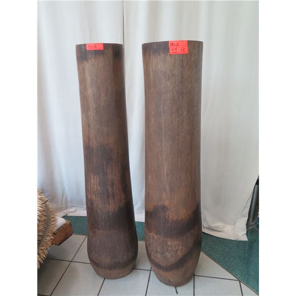 """Qty 2 Tall Carved Wooden Vessels, Each Approx. 12"""" Dia, 59""""H"""