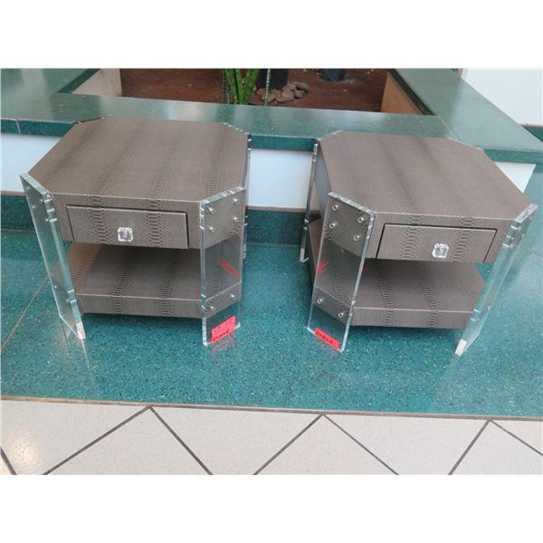 """Pair of Modern Side Tables, Faux Snakeskin & Acrylic Corner Panels, 20""""x20""""x18""""H"""