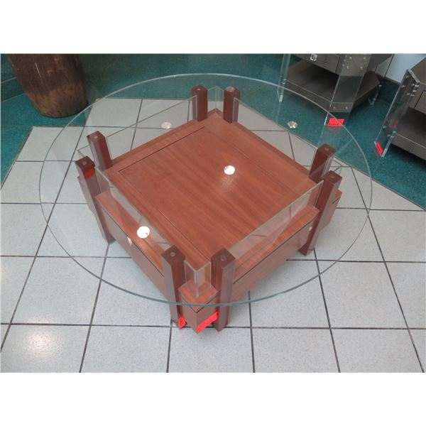 """Glass Coffee Table with Square Base (base is 30"""" x 30"""" x 18""""H), No key for lock on bottom"""
