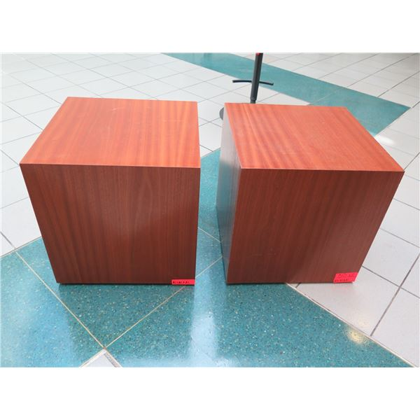 """Pair of Wooden Block Side Tables 20"""" x 20"""" x 21"""" H"""