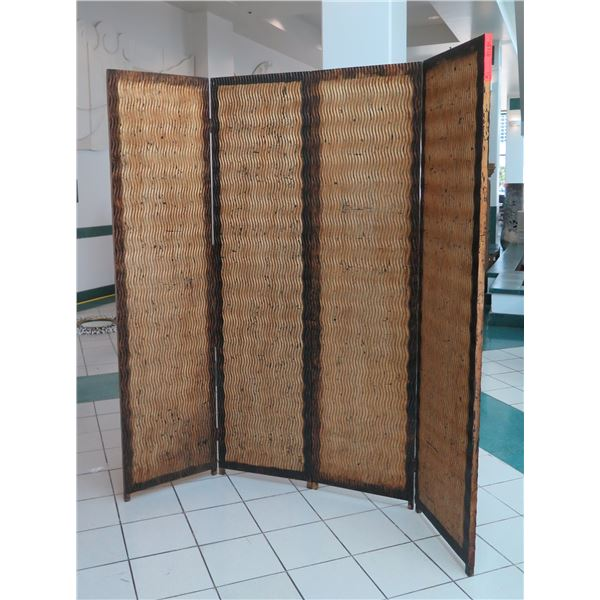 """Tall 4-Panel Decorative Screen, Abstract Wave Texture, 84"""" x 84"""""""