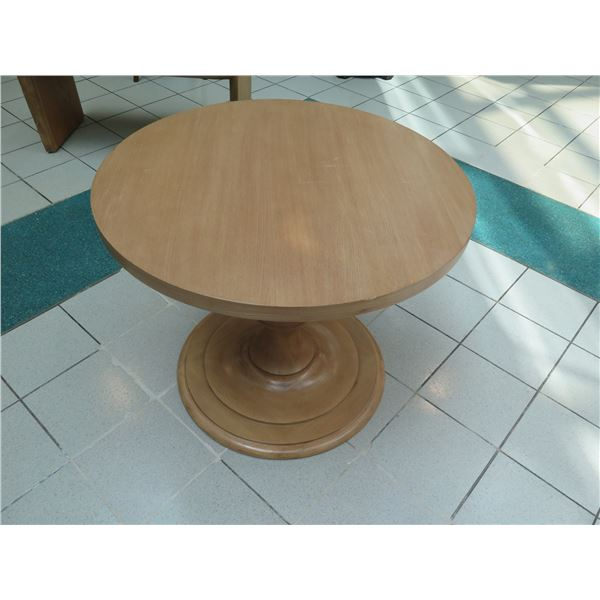 """Small Wooden Dining Table w/ Pedestal Base 36"""" Dia, 29""""H"""