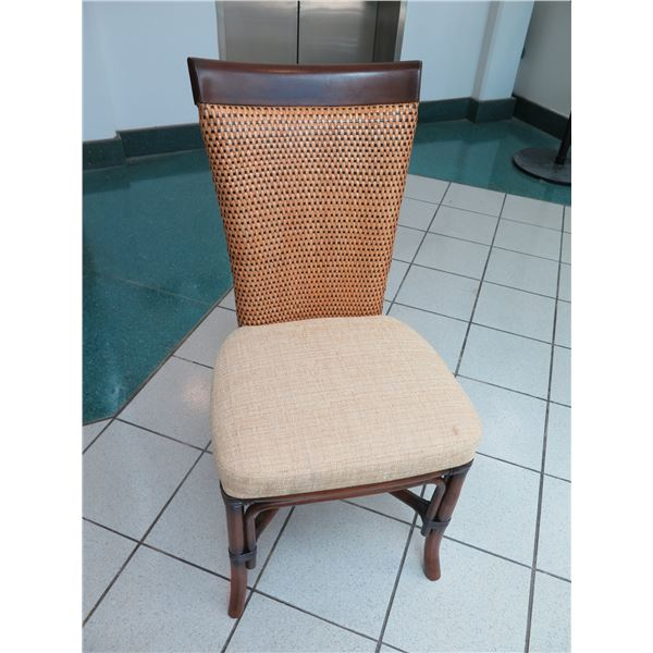 """Chair with Woven Backrest & Dark Wood Frame 20"""" x 18"""" x 40""""H"""