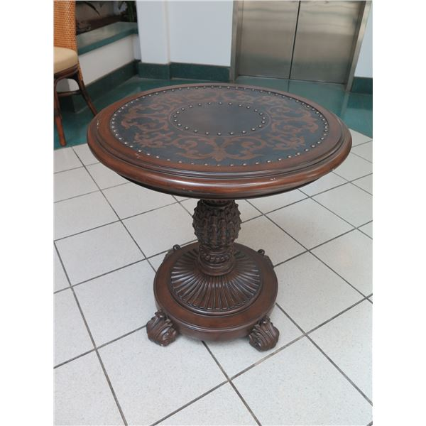 """Round Accent Table w/ Pedestal Base, Stud & Scroll Detail 26"""" Dia, 27"""" H"""