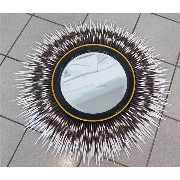 "Neiman Marcus Round Mirror with Wood-Tip Fringe (Overall Diameter 34"")"