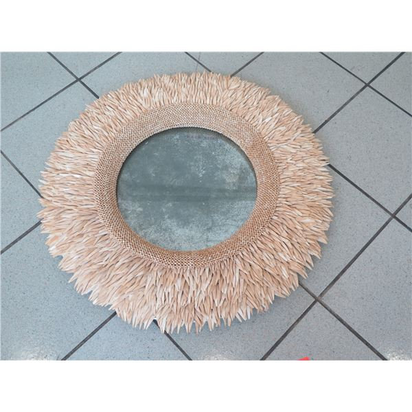 """Round Mirror with Coconut Shell Fringe (mirror is tarnished), Overall Diameter 30"""""""