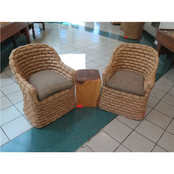 Qty 2 Ralph Lauren Joshua Tree Woven Barrel Back Chairs w/ Live-Edge Block Accent Table