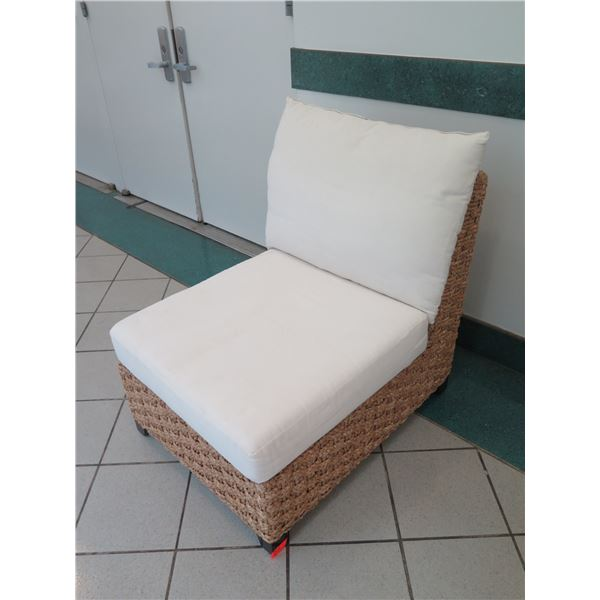 """Lounge Chair w/ Woven Base and White Cushions 28"""" x 36"""" x 32"""" Back Ht."""