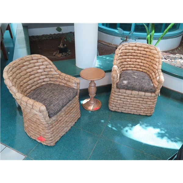 """Qty 2 Ralph Lauren Joshua Tree Woven Barrel-Back Chairs w/ Accent Table (14"""" Dia, 23""""H), Chairs 34"""""""