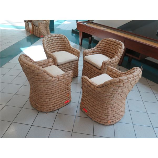 Qty 4 Ralph Lauren Joshua Tree Woven Barrel-Back Chairs w/ Cushions