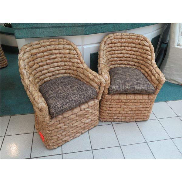 "Qty 2 Ralph Lauren Joshua Tree Woven Barrel-Back Chairs w/ Cushions, 34"" Back Height"