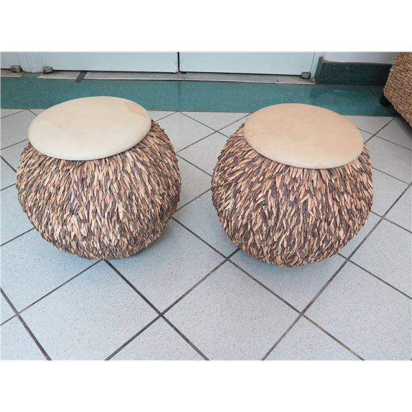 """Pair of Stools with Coconut Shell Fringe, Leather-Like Top, 20"""" Tall (some discoloration)"""