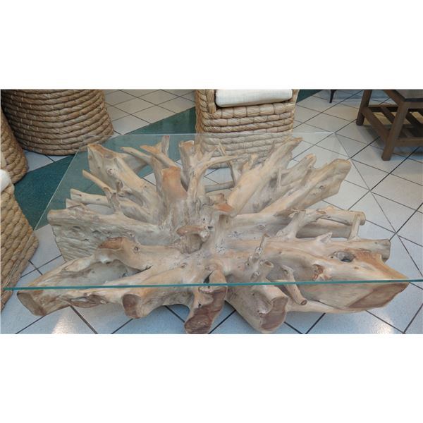 """Solid """"Root"""" Light-Wood Coffee Table w/ Glass Top (glass 43"""" x 54"""")"""