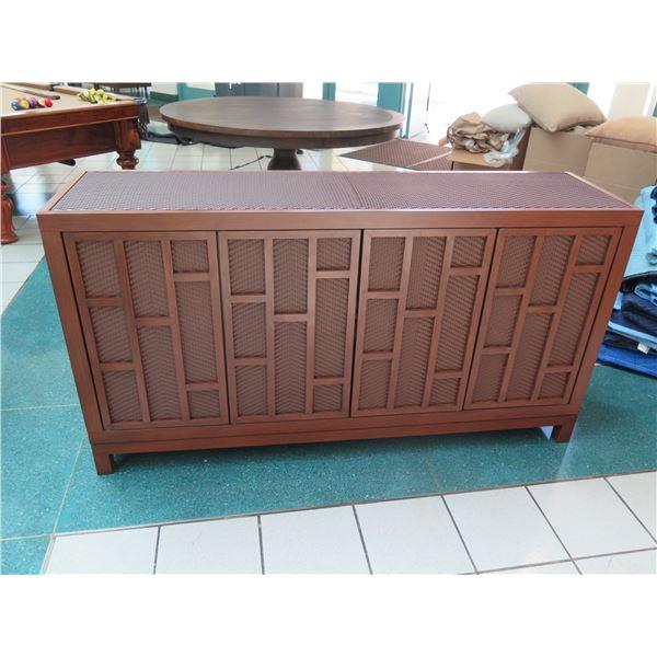 """New/Unused Woven 4-Door Sideboard Cabinet 68"""" x 18"""" x 36""""H (1 panel door is dis-attached)"""