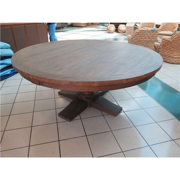 "Large Dark Wood Round Table 73"" Dia, 30"" H"
