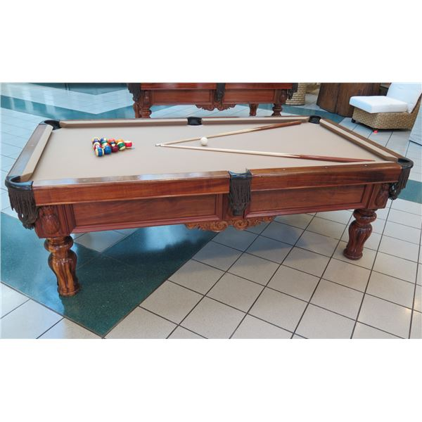 "Martin & MacArthur Koa Wood Billiards Table w/ Original Italian Slate & Carved Details 97""x53""x32"""