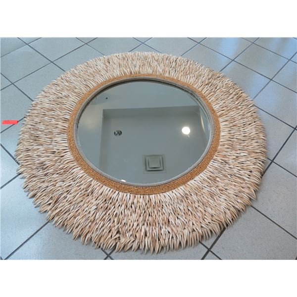 """Large Round Mirror with Coconut Shell Fringe (55"""" Overall Diameter)"""