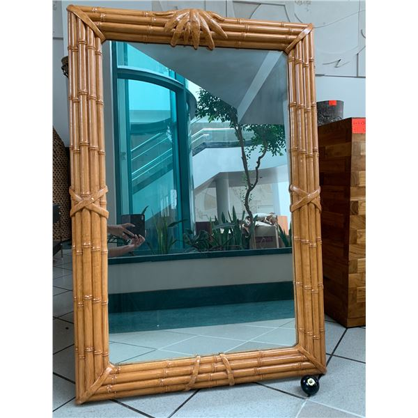"""Large Rattan-Look Mirror 31.5""""W, 48"""" Tall (not real wood)"""
