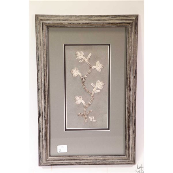 "Framed moose tufting initialled TL, overall dimensions 15"" X 10"""