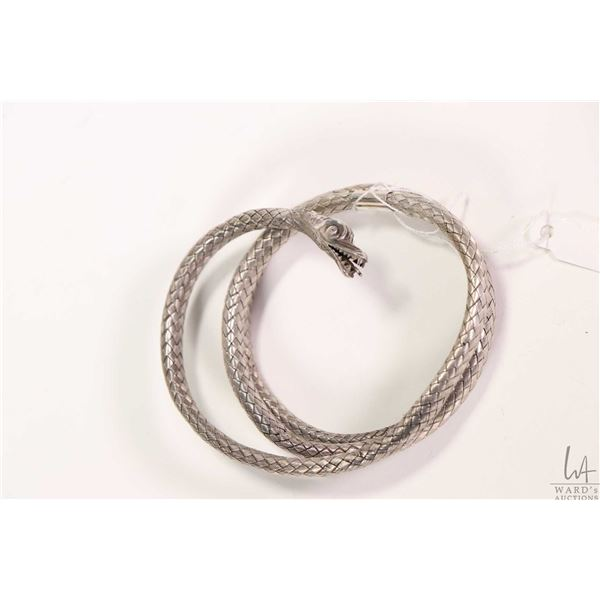 Antique snake bracelet made from woven silver/silverplate (?) wire, note old repairs including band