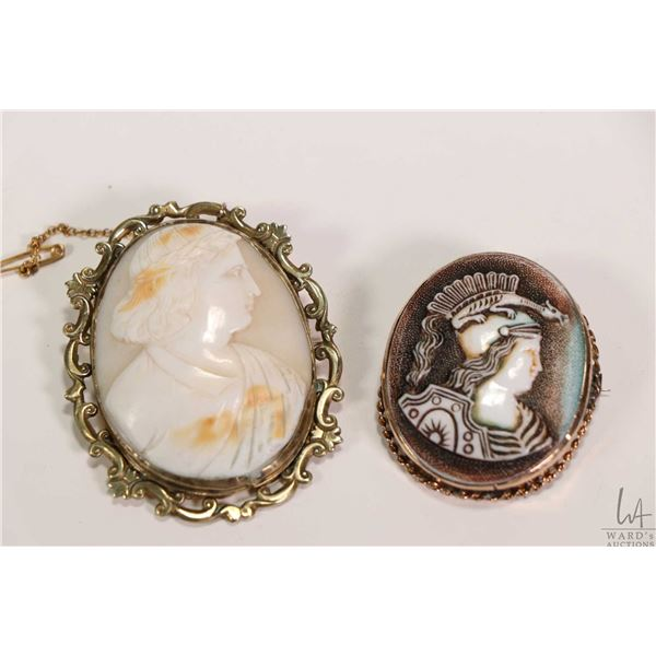 Two vintage cameos including a carved gentleman with a laurel leaf crown in brass bezel and a Roman