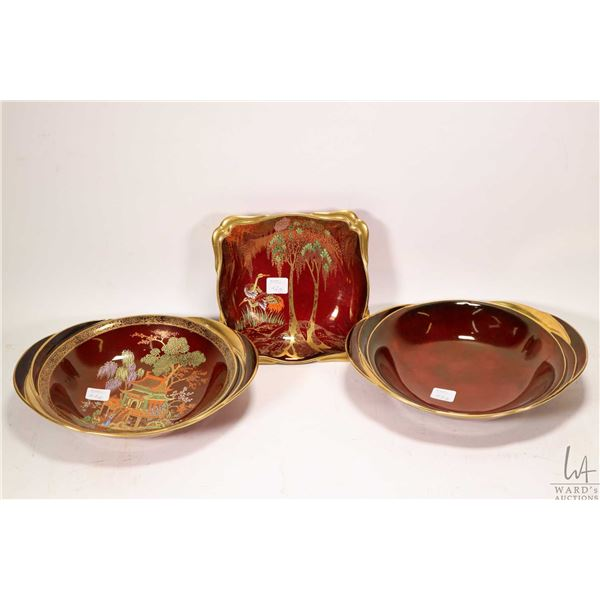 Three Carltonware rouge royale dishes including Pagoda pattern and cranes
