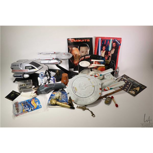 Selection of Star Trek and Star Wars collectibles including Space shuttle radio which is working, a