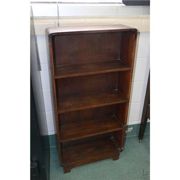 """Small oak four tier open book shelf, 42"""" in height"""