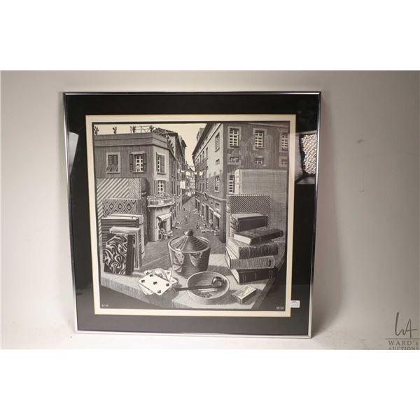 """Framed print """"Still Life and Street"""" by artist Maurits Cornelis Escher"""